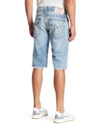 True Religion - Straight Leg Monogram Cut Off Shorts - Lyst