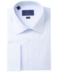 831963aa2617 David Donahue - Trim Fit Stripe Dress Shirt - Lyst