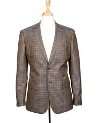 Boga - Navy Blue & Saddle Brown Plaid Notch Lapel Modern Fit Blazer - Lyst