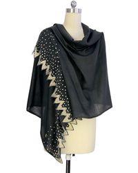 Saachi - Gunmetal & Metallic Embellished Jagged Edge Merino Wool Wrap - Lyst