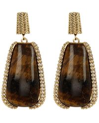 Cole Haan - 12k Gold Plated Tiger Eye & Pave Crystal Drop Earrings - Lyst