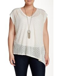 Halo - Asymmetrical Open Knit Tee With Necklace (plus Size) - Lyst