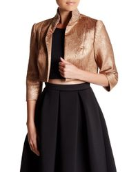 Carmen Marc Valvo - Embellished Brocade Cropped Jacket - Lyst