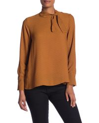 Pleione - Tie Neck Long Sleeve Blouse - Lyst
