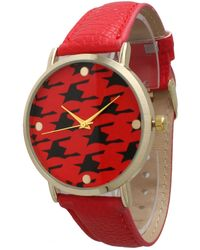 Olivia Pratt - Women's Houndstooth Dial Leather Watch - Lyst