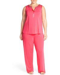 Midnight By Carole Hochman - Sleeveless Jersey Pajamas (plus Size) - Lyst