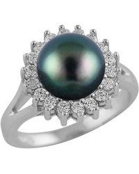 Splendid - 8mm Black Tahitian Pearl Cz Halo Ring - Lyst