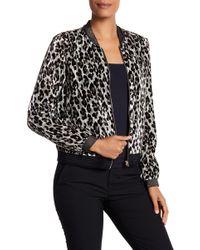 T Tahari - Velvet Cheetah Print Bomber Jacket - Lyst