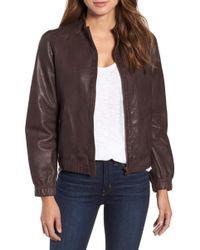 Caslon - (r) Washed Leather Bomber Jacket (regular & Petite) - Lyst