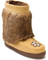 Manitobah Mukluks - Genuine Rabbit Fur & Sheepskin Footbed Half Metis Mukluk - Lyst