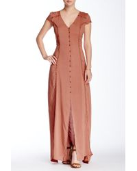 Blush Noir - Crochet Trim Maxi Dress - Lyst