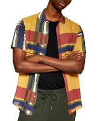 TOPMAN - Plaid Stretch Oxford Shirt - Lyst
