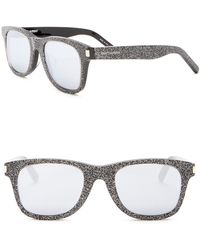 cde32ba704e Saint Laurent Round-frame Glitter Glasses in Metallic - Lyst