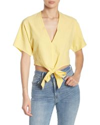 474412a968862c FAVLUX Polka Dot Off-the-shoulder Top in Yellow - Lyst