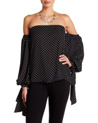 27cd34b761441 Lyst - Vince Camuto Cold-shoulder Invert-pleat Blouse in Black