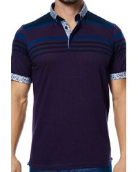 Maceoo - Short Sleeve Striped Contemporary Fit Polo - Lyst