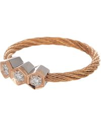 Alor - 18k White Gold & Rose Gold-tone Stainless Steel Cable Diamond Triple Hex Ring - Size 7 - 0.07 Ctw - Lyst