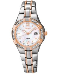 Seiko - Women's Two-tone With Diamonds Solar Watch - Lyst