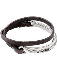 Uno De 50 - Half-turn Wrapped Leather Cuff Bracelet - Lyst