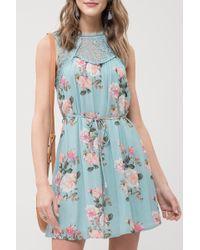 Blu Pepper - Lace Yoke Floral Printed Dress - Lyst