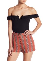 Honey Punch - Ruffle Off-the-shoulder Bodysuit - Lyst