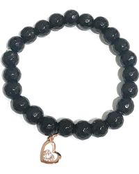 Charlene K - 14k Gold Over Sterling Silver Onyx Bead & Cz Detail Double Heart Pendant Bracelet - Lyst