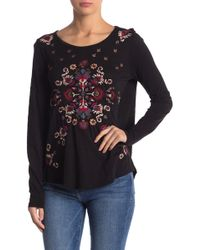 Lucky Brand - Embroidered Floral Long Sleeve Tee - Lyst
