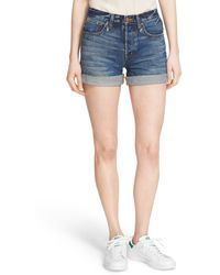 Ayr - 'the 5 Pocket' Roll Cuff Denim Shorts - Lyst