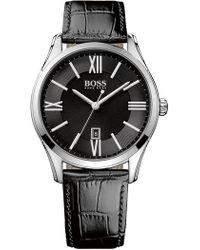 b0ec46f6b BOSS - Men's Ambassador Croc Emed Leather Strap Watch, 43mm - Lyst