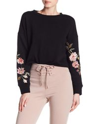 Love, Fire | Floral Embroidered Cropped Crew Neck Sweatshirt | Lyst