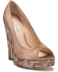 Jerome C. Rousseau - Creston Silk Satin Pump With Sequinned Platform - Lyst