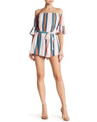 Wow Couture - Striped Woven Romper - Lyst