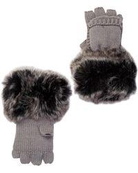 Surell - Knit Pop-top Faux Fur Cuff Mittens - Lyst