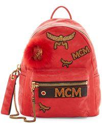 MCM - Stark Leather & Genuine Lamb Fur Insignia Backpack - Lyst