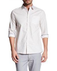 Kenneth Cole | Long Sleeve Stripes & Dot Print Trim Fit Shirt | Lyst