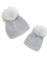 8fc2b119a22 Kyi Kyi - Mom   Me Knit Hats With Genuine Fox Fur Poms Set - Lyst