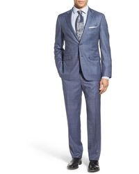 Strong Suit - Claymore Blue Windowpane Two Button Notched Lapel Wool Trim Fit Suit - Lyst
