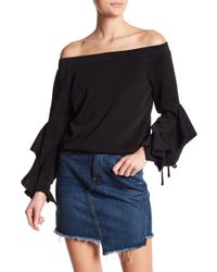 Oober Swank - Off The Shoulder Ruffle Sleeve Sweater - Lyst