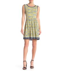 Max Studio - Patterned Sleeveless Fit & Flare Dress - Lyst