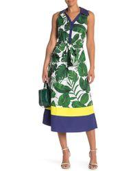 Alice + Olivia - Margot Leaf Print Midi Dress - Lyst