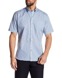 Thomas Dean - Short Sleeve Regular Fit Woven Print Shirt - Lyst