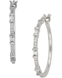 Bony Levy - 18k White Gold Baguette & Round Diamond Detail Hoop Earrinngs - 0.25 Ctw - Lyst