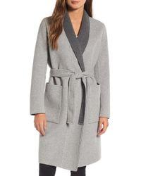 SOIA & KYO - Double Face Wool Blend Long Wrap Coat - Lyst