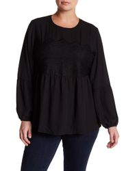 Halogen - Lace Panel Ruffle Blouse (plus Size) - Lyst