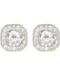 Adornia - Sterling Silver Prong & Halo Set Swarovski Crystal Accented Stud Earrings - Lyst