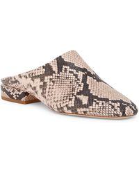 Pour La Victoire - Sebina Snake Embossed Leather Slide Flat - Lyst