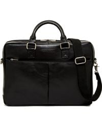 Perry Ellis - Zip Top Leather Briefcase - Lyst