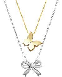 Alex Woo | Little Princess 14k Yellow Gold Diamond Butterfly & Bow 2-piece Necklace Set - 0.01 Ctw | Lyst