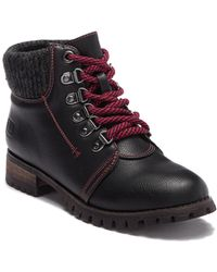 Dirty Laundry - Terek Knit Cuff Lace-up Boot - Lyst