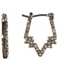 Rebecca Minkoff - Stargazing Pave Crystal Geo Mini Hoop Earrings - Lyst